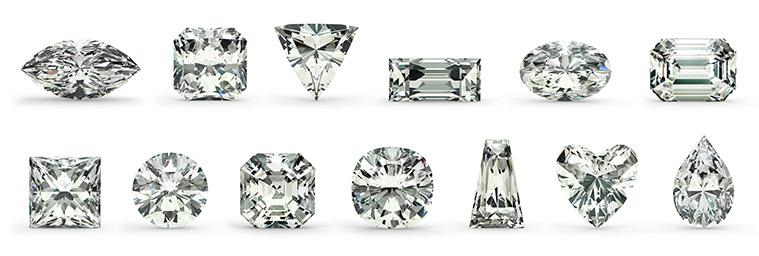 slijpvormen van diamant, princess, briljant en baguette