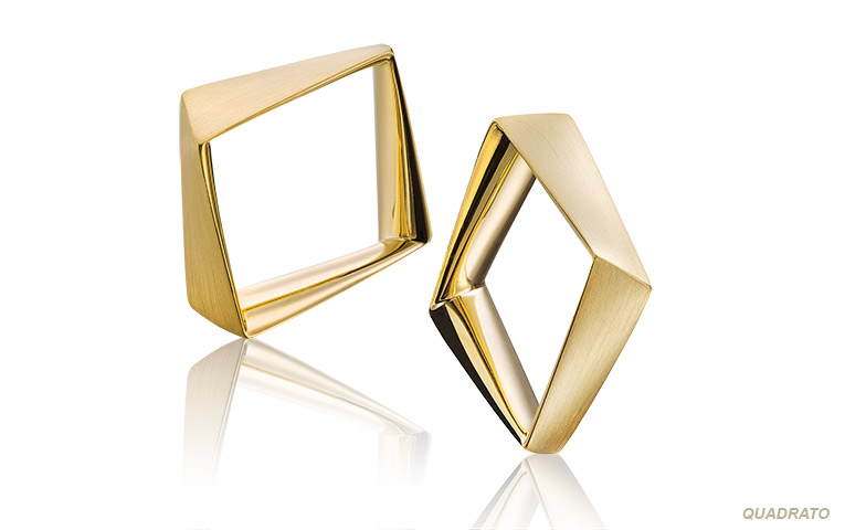 vierkante aparte trouwringen