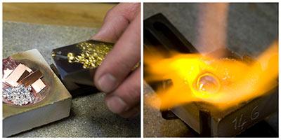 het smelten van 14 karaat goud