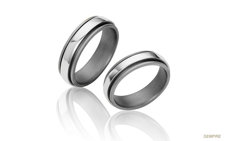 titanium trouwringen met witgoud