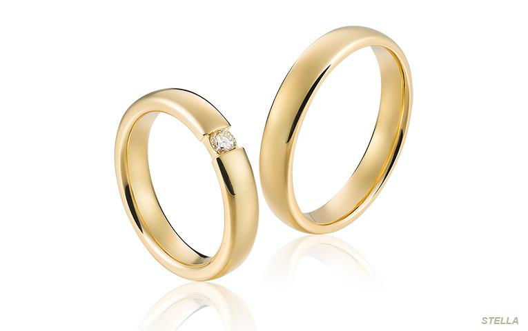 geelgouden diamant ringen met spanring look