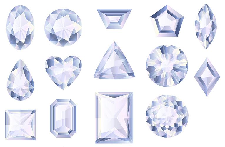 14 slijpvormen van diamant van briljant, princess, baquette, en cushion