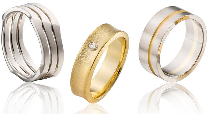 drie gay trouwringen in het14 krt goud met en briljant in de middelste ring
