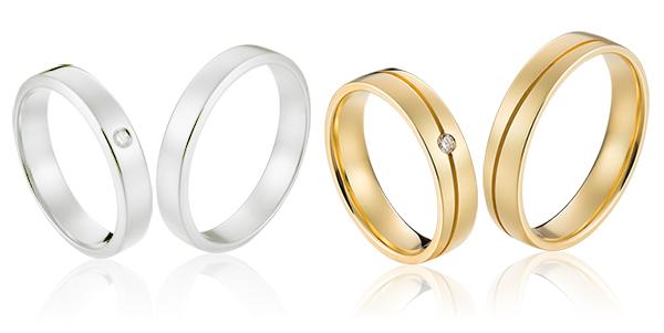 14 krt gouden trouwringen in klassieke modernestijl