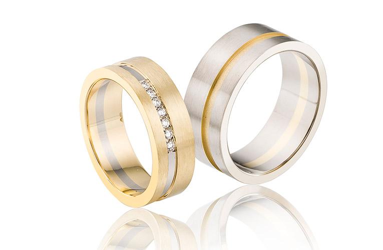 stoere trouwringen van 14 krt goud en witgoud