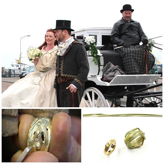 Huwelijk op terschelling met grasringen