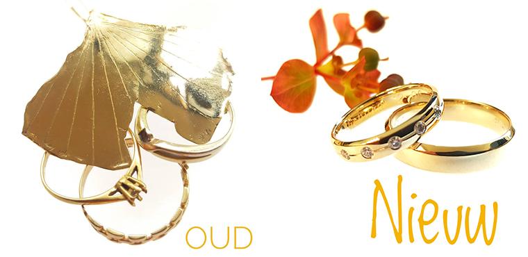 trouwringen gemaakt van oude gouden sieraden