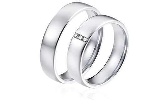 wedding rings platinum 950 and 3 diamonds