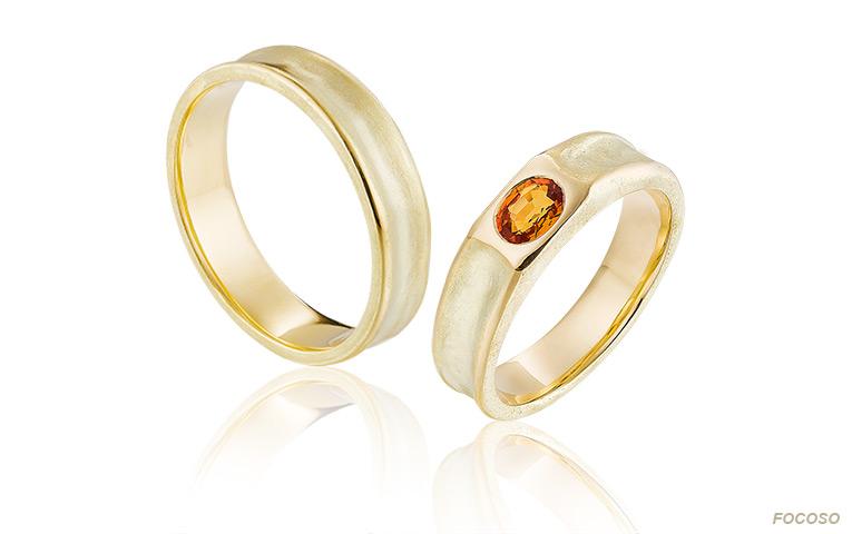 ringen in geelgoud met oranje padparadscha saffeir