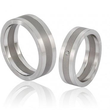 titanium trouwringen met staal of rvs
