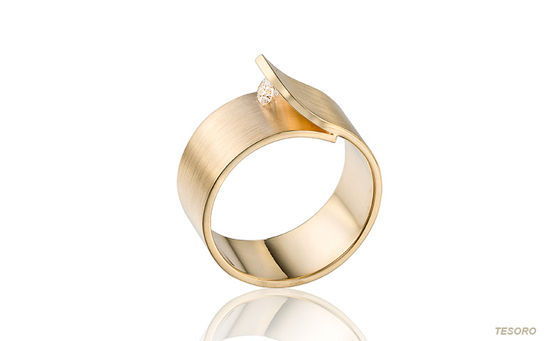 Trouwring in goud met diamant