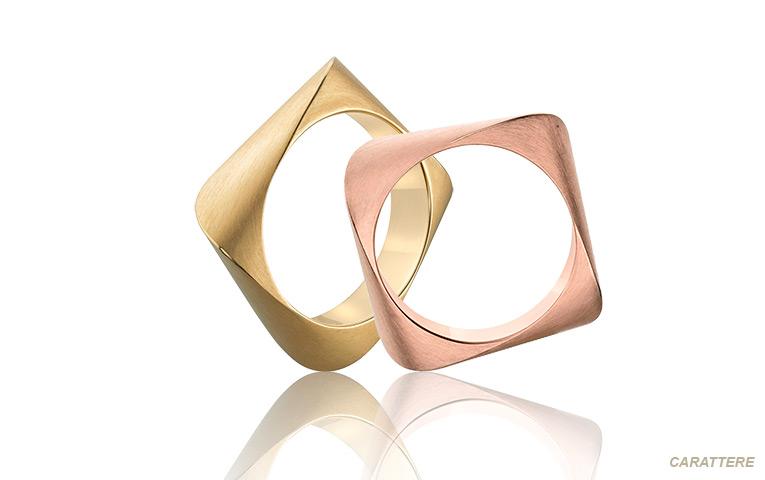 unieke vierkante trouwringen van goud