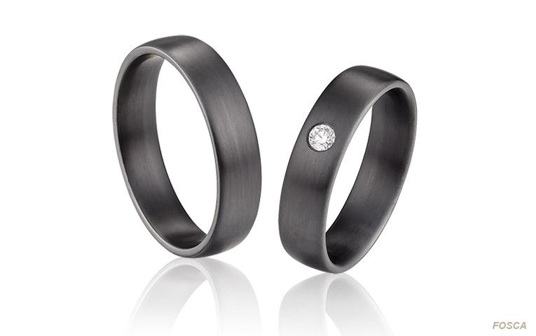 zwarte zirkonium trouwringen met diamant